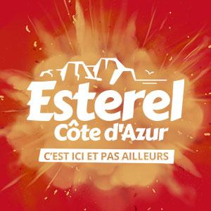 Logo-Estérel-Côte-d'Azur-blanc---Fond-rouge-explosion-sable