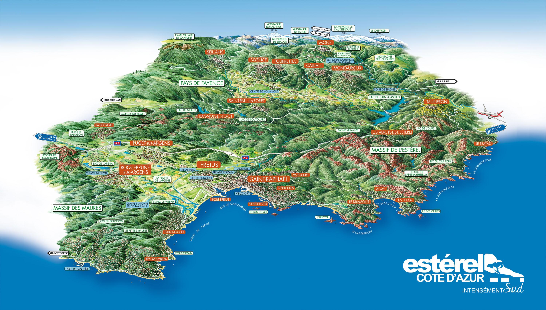 Carte du territoire est rel c te d 39 azur - Office du tourisme frejus saint raphael ...